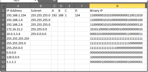 Geeky Excel Formulas – Subnet Math / Group By Subnet using
