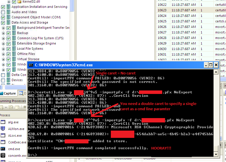 Case of the CertUtil Import Refusing The Correct Password