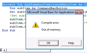Microsoft Visual Basic Out Of Memory Error Excel