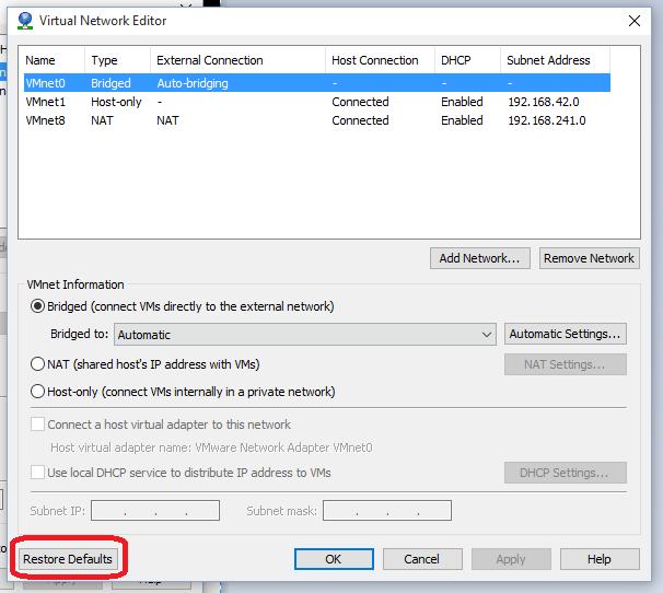 install vmware network adapter windows 10
