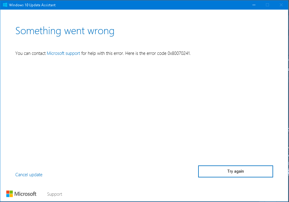 Windows 10 Update Assistant – Something Went Wrong